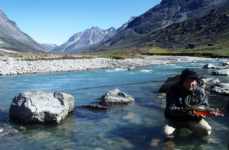 Arctic char fly fishing in Greenland